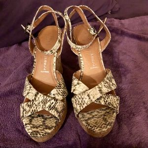 Animal print ankle strap wedges